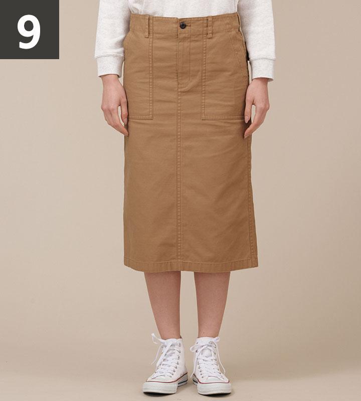 バックサテンロングスカート